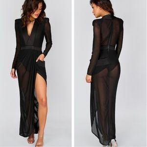 🆕Shein Sexy Black Sheer Mesh Deep V Maxi Dress